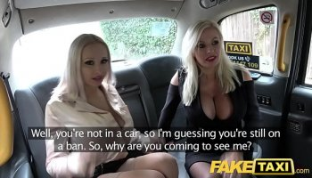 Modest skinny girl and her busty instructor Angela White on massage