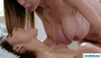 two naughty milf using strapon in public changing room